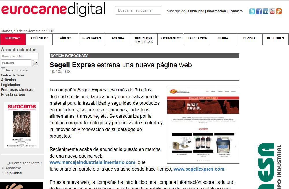 Eurocarne digital se hace eco de nuestra nueva web